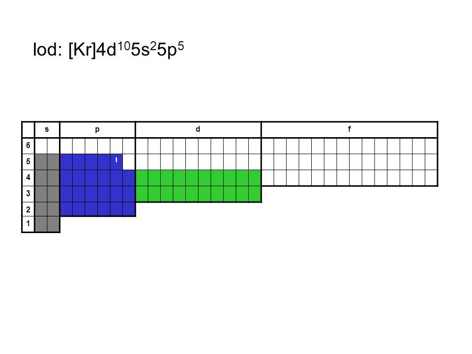 Iod: [Kr]4d105s25p5 s p d f 6 5 I 4 3 2 1